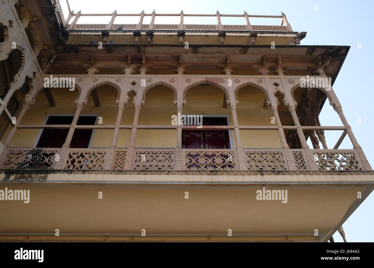 Architectural detail in Jaipur City Palace, Rajasthan, India. Palace was the seat of the Maharaja of Jaipur - Stock Image