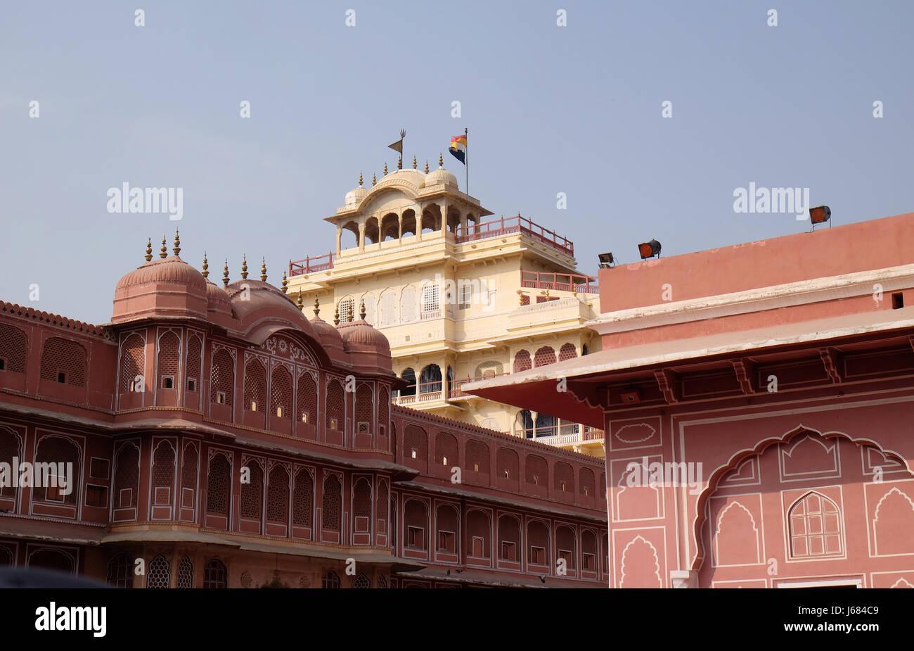 Chandra Mahal in Jaipur City Palace, Rajasthan, India. Palace was the seat of the Maharaja of Jaipur - Stock Image