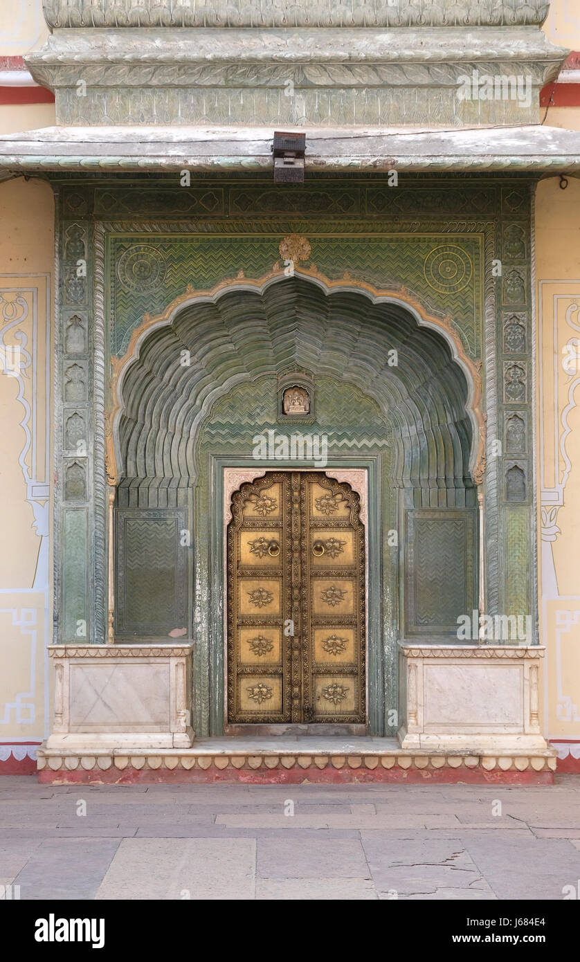Ornate door at the Chandra Mahal, Jaipur City Palace in Jaipur, Rajasthan, India, on February, 16, 2016. - Stock Image