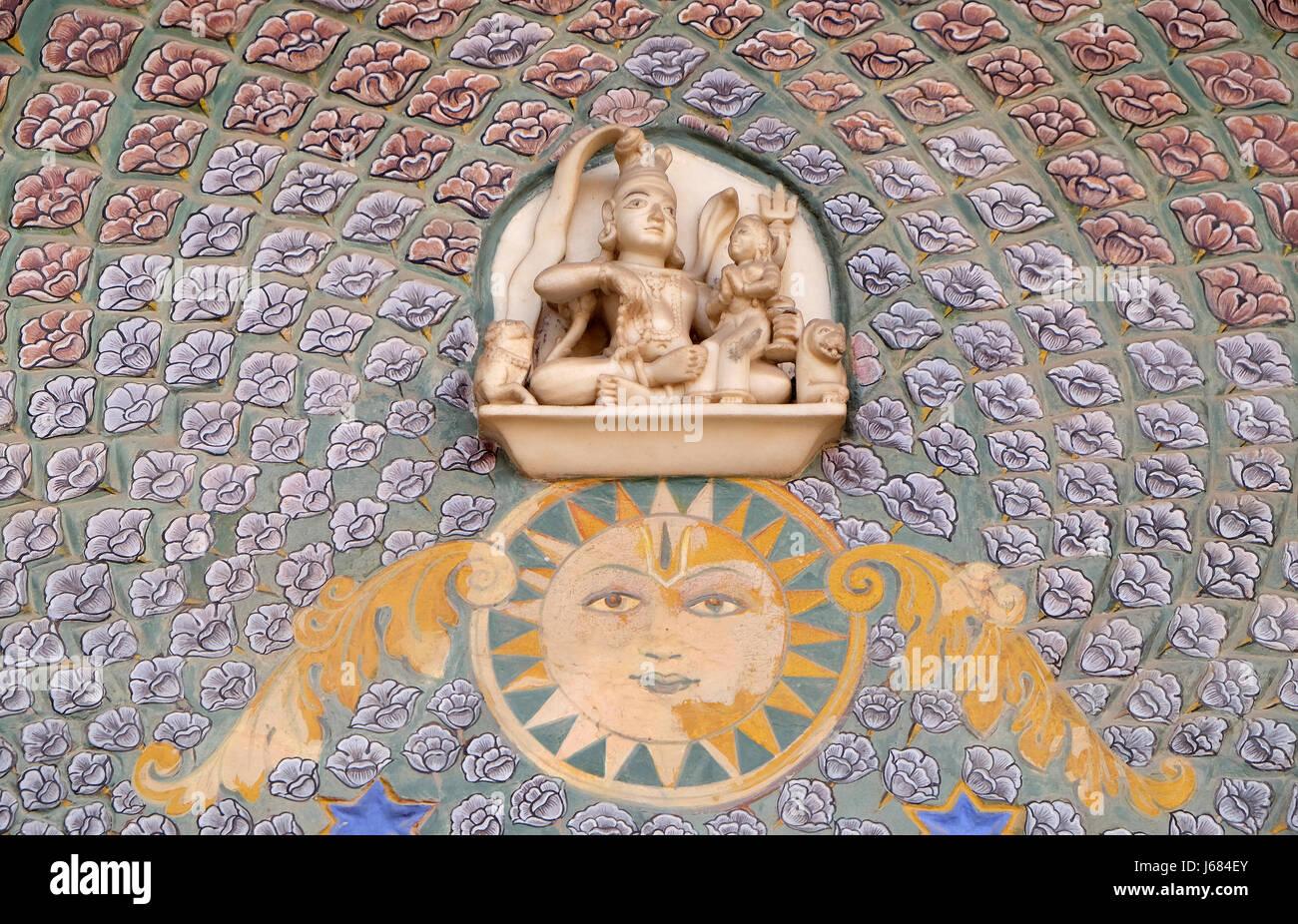 Rose Gate at the Chandra Mahal, Jaipur City Palace, Rajasthan, India. In the courtyard Pitam Niwas Chowk. - Stock Image