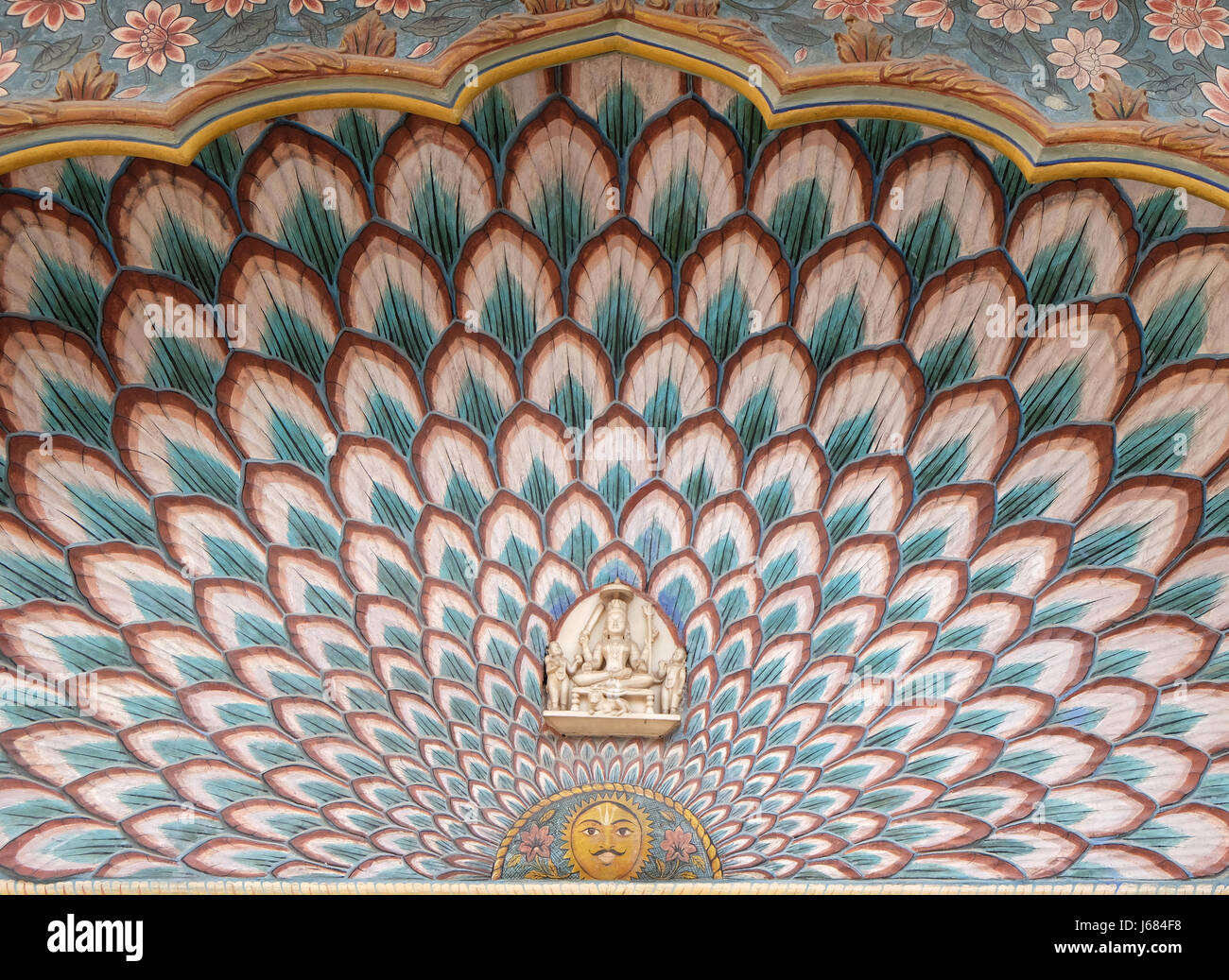 Lotus Gate at the Chandra Mahal, Jaipur City Palace in Jaipur, Rajasthan, India, on February, 16, 2016. - Stock Image