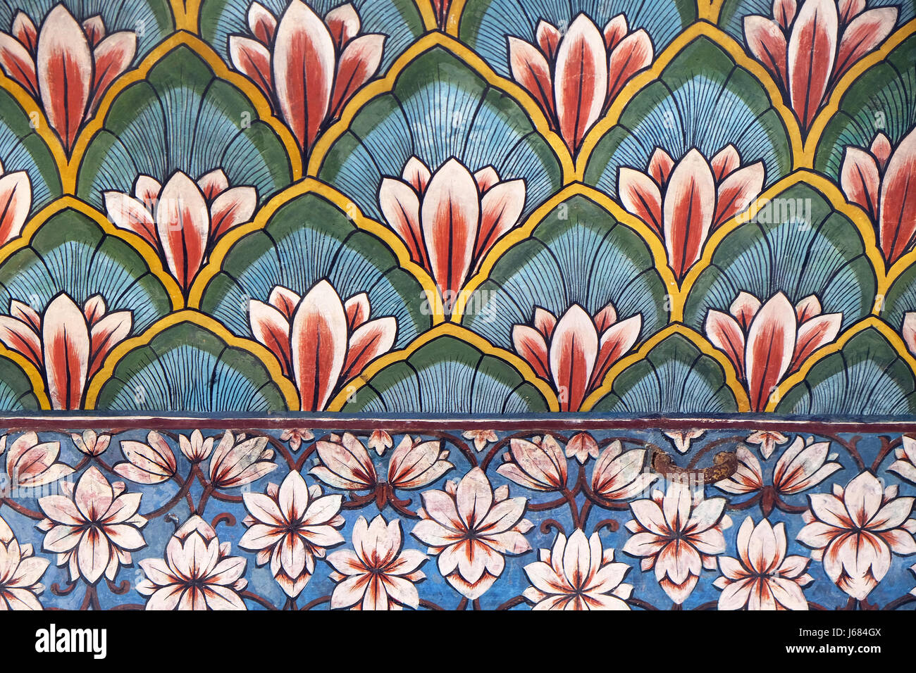 Wall Paintings In The Chandra Mahal Jaipur City Palace In Jaipur