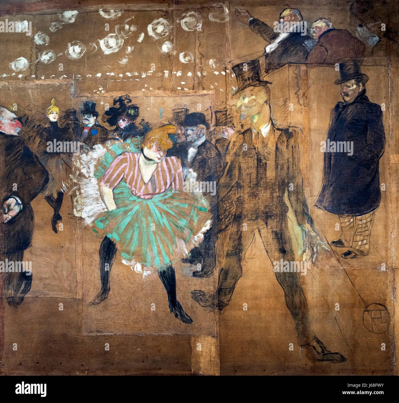 Toulouse-Lautrec painting. 'La Danse au Moulin Rouge' (Dance at the Moulin Rouge) by Henri de Toulouse-Lautrec - Stock Image