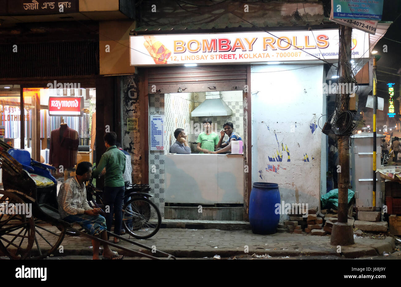 Street fast food shop where they prepare Bombay Rolls in Kolkata on February 09, 2016. - Stock Image