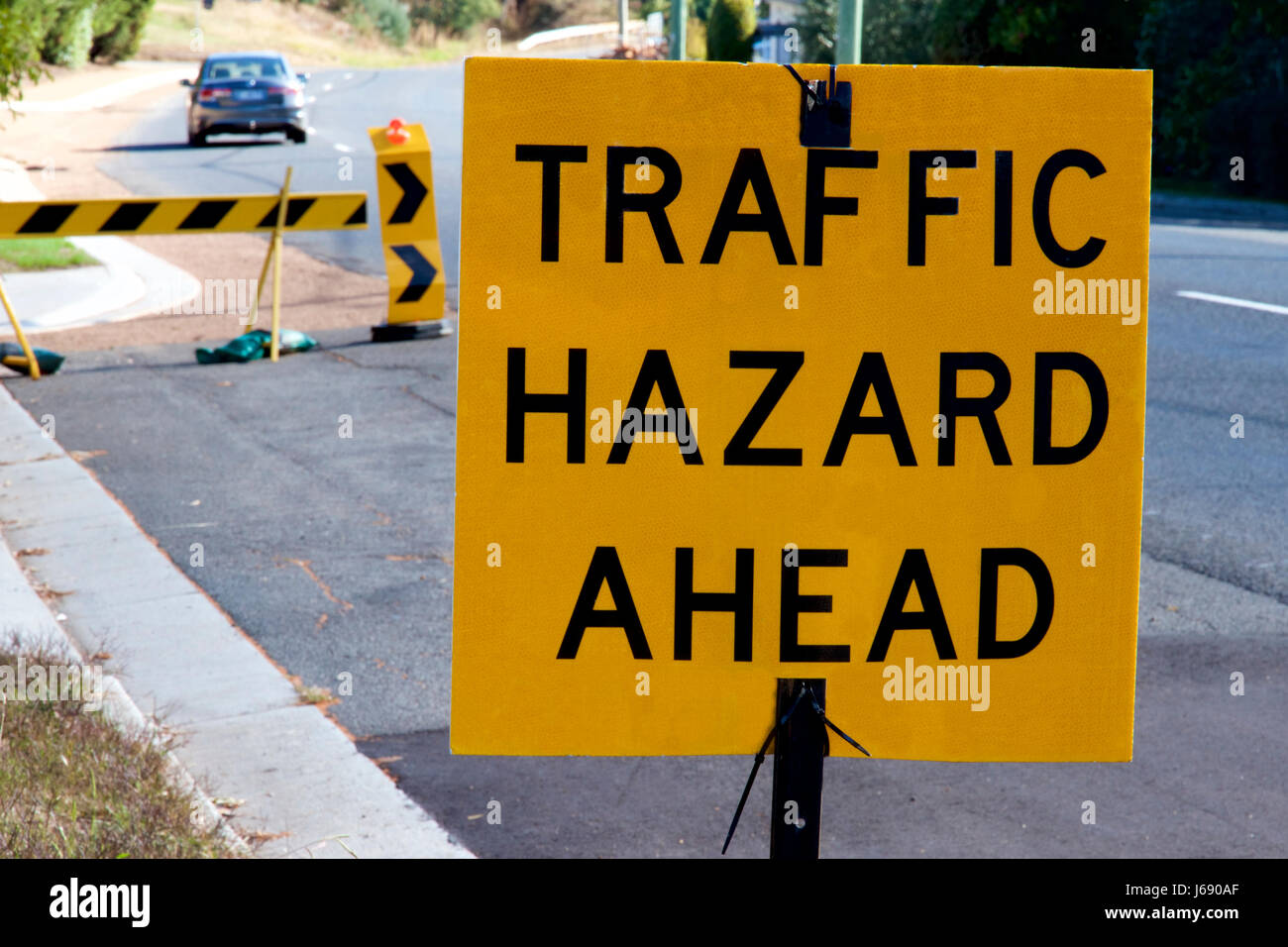 Traffic hazard ahead sign. - Stock Image