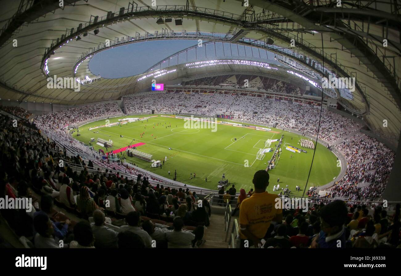 Doha. 19th May, 2017. This photo taken on May 19, 2017 shows the general view of the Khalifa International Stadium Stock Photo