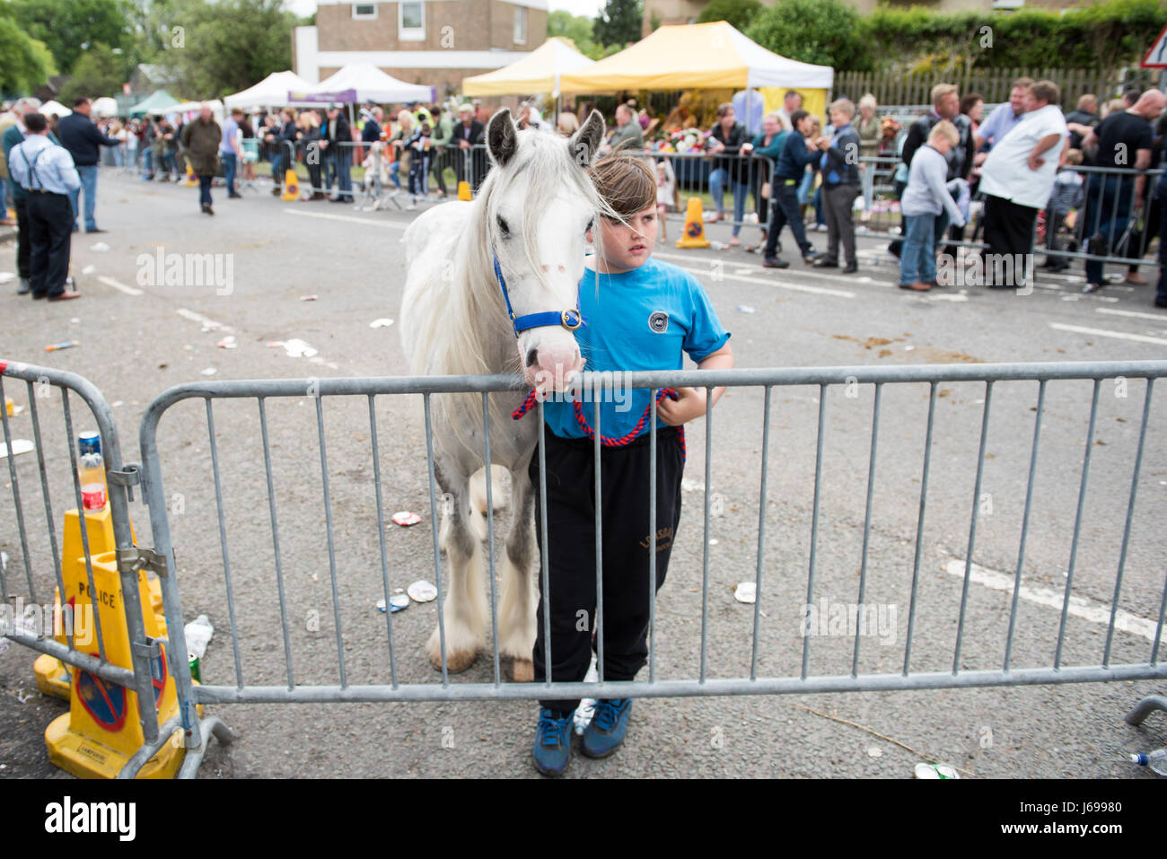 Wickham, Hampshire, United Kingdom. 20th May, 2017. Wickham Horse Fair. Groups of gipsy travellers meet with their Stock Photo