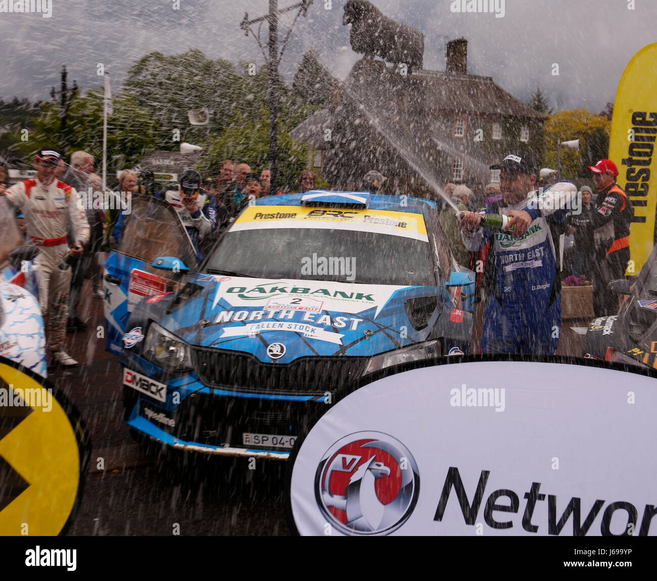 Dumfries and Galloway, UK. 20th May, 2017. Winners David Bogie and co driver Kevin Rae celebrate winning the RSAC - Stock Image