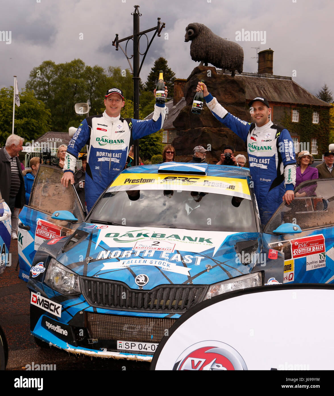 Dumfries and Galloway, UK. 20th May, 2017. Winners David Bogie and co driver Kevin Rae win the RSAC Scottish Rally - Stock Image