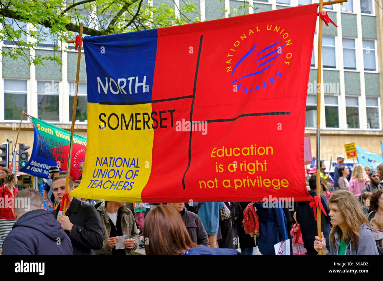 Bristol, UK. 20th May, 2017. Protestors against the government's education policies march through the city streets. - Stock Image