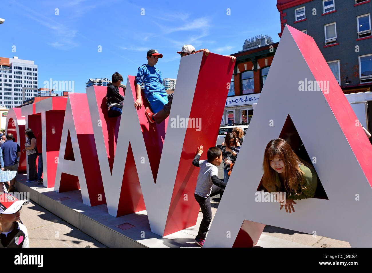 Ottawa, Canada - May 20, 2017:  Inspiration Village, a temporary attraction built to help celebrate Canada's 150th Stock Photo