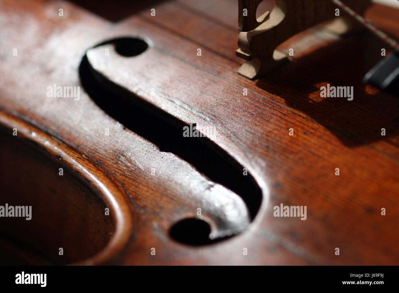 music strings violin bowed instrument notes treble clef measure instrument - Stock Image