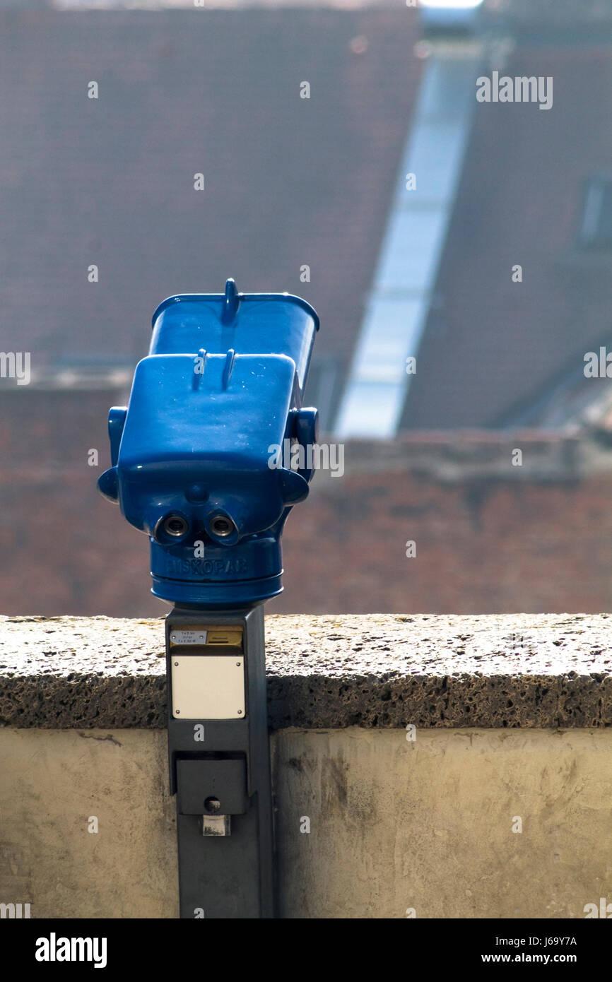 Blue binocular in Zagreb,Croatia - Stock Image