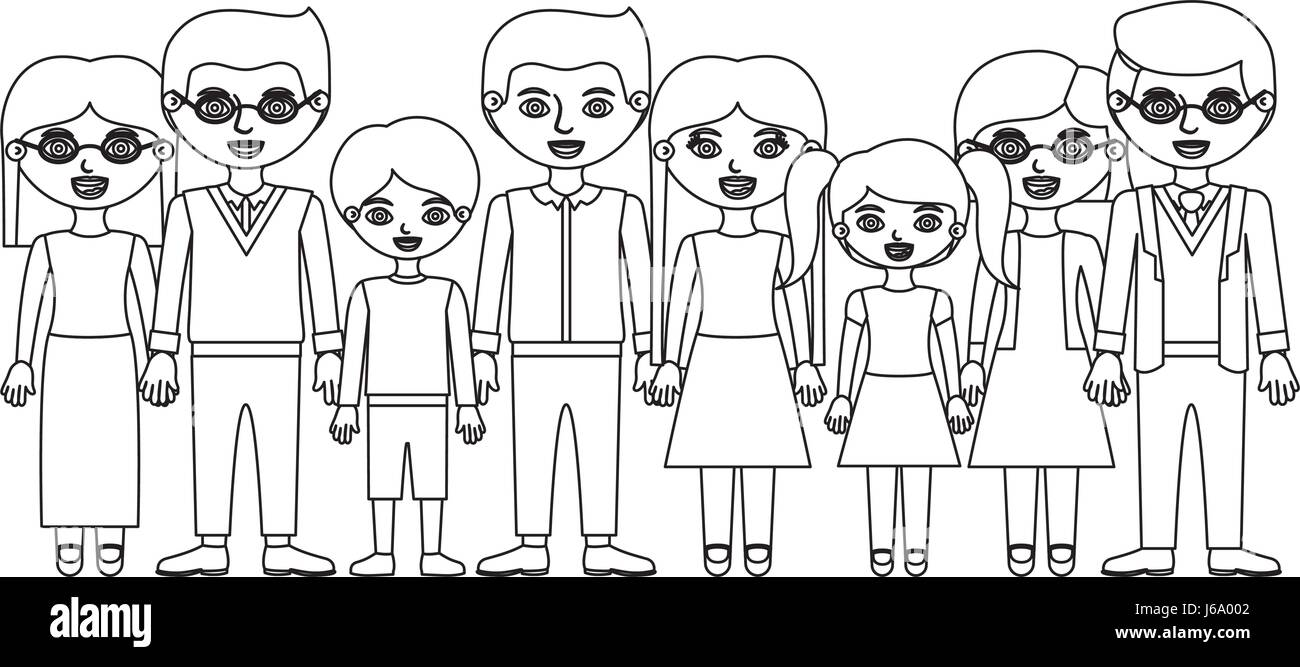 monochrome silhouette with family group with informal clothes - Stock Image