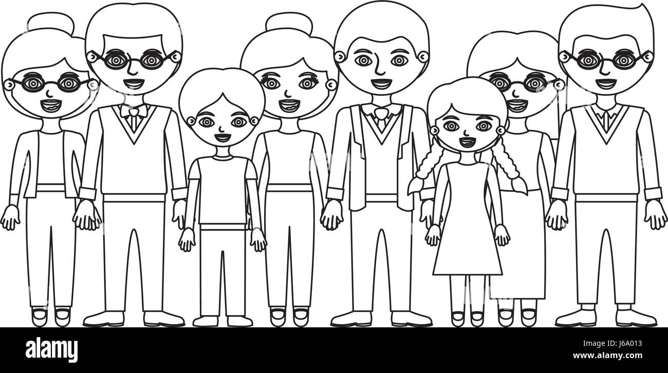 monochrome silhouette with family group with informal clothes and some adults with glasses - Stock Image