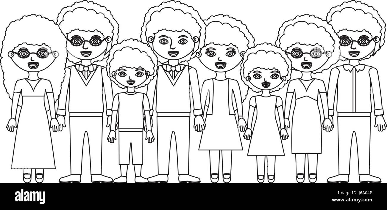 monochrome silhouette of family group with curly hair and informal clothes - Stock Image