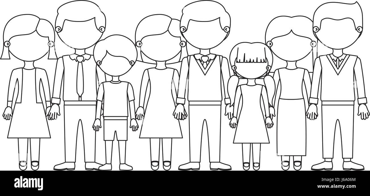 monochrome silhouette with faceless family group with informal clothes - Stock Image