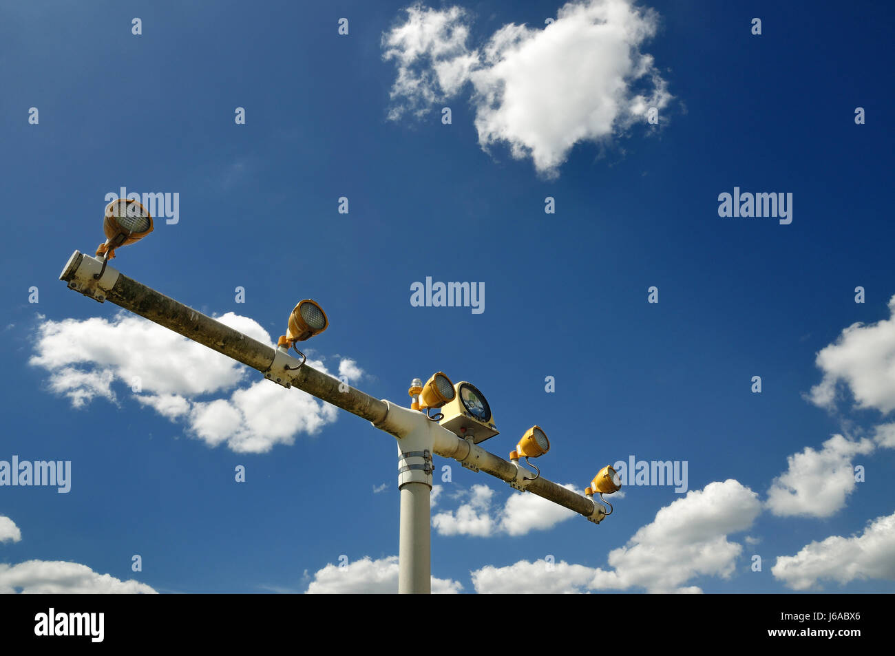 lamps approach flight beaconing runway airport air traffic air safety system of Stock Photo