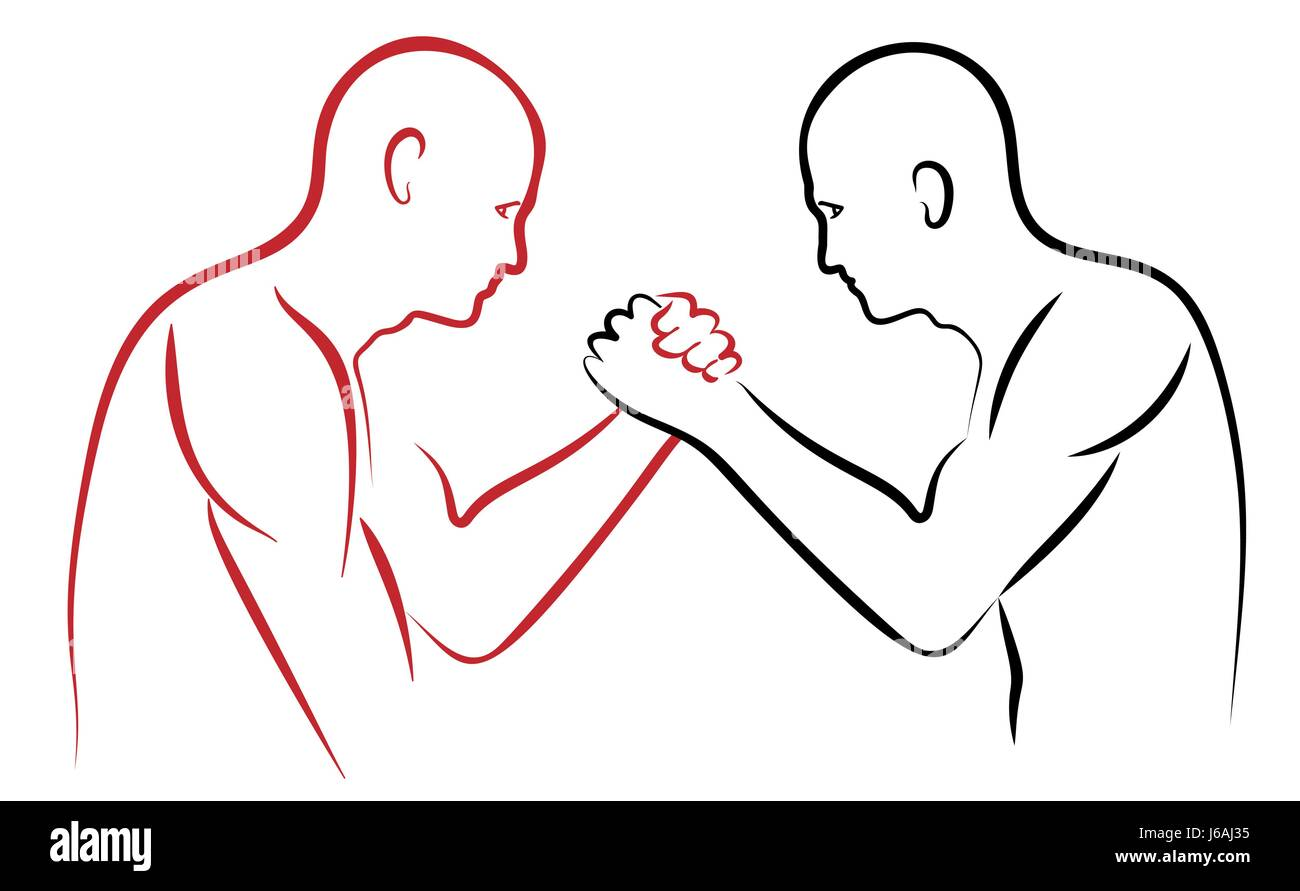 arm wrestling vector illustration red and black silhouettes - Stock Image