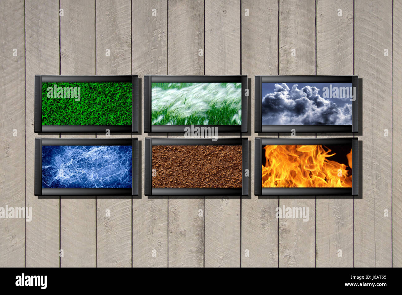 ground soil earth humus screen elements wind water nature fire blue eco - Stock Image