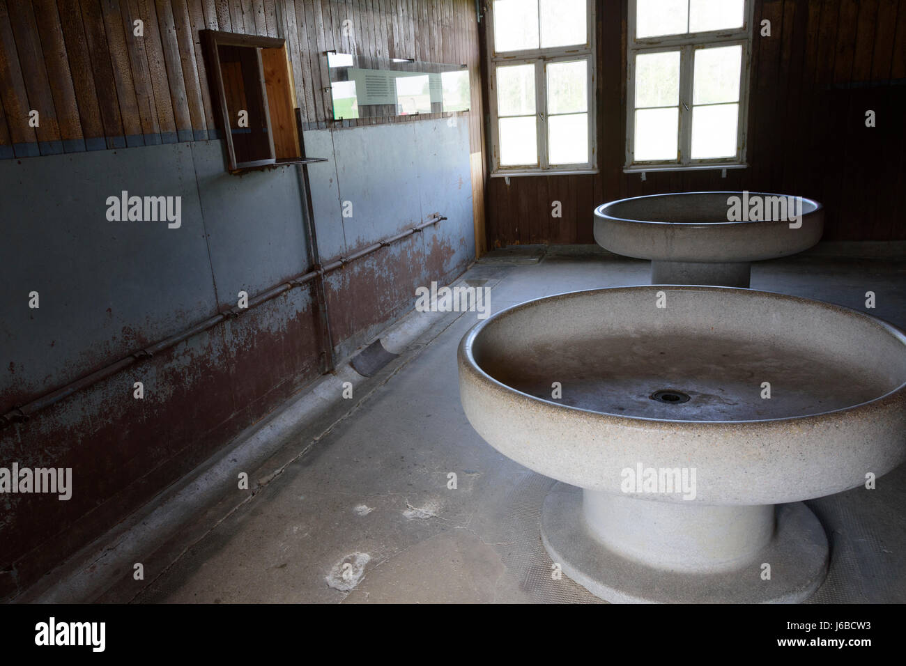 Mauthausen - Gusen concentration camp. Austria, washing room in one of the barracks - Stock Image