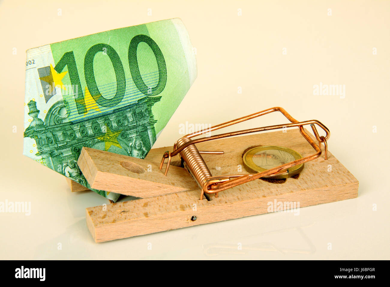 bank note cases trap click bank lending institution danger contract macro Stock Photo