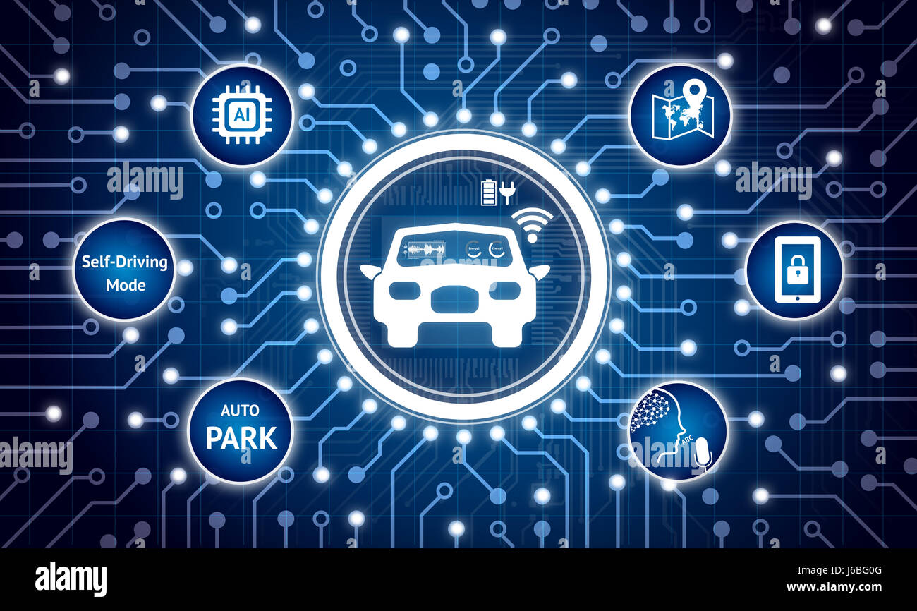 Smart car and internet of things (IOT) concept. Electric circuit graphic and infographic of  auto park , navigation - Stock Image