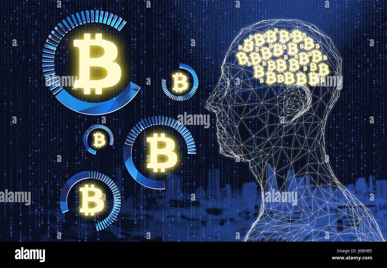Fintech Financial Technology concept image. Digital currencies , cryptocurrency , digital money and bitcoin concept. - Stock Image