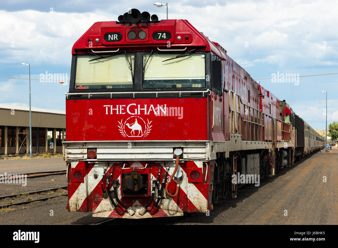 The famed Ghan train at Alice Springs railway station. Central Australia. - Stock Image