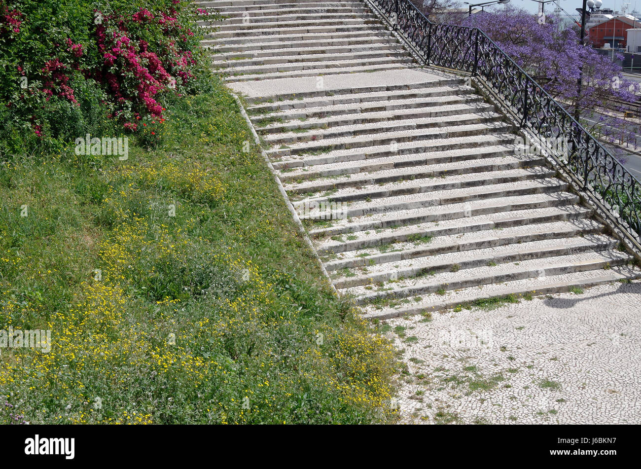 Lisbon, Portugal, stone staircases linking Avenida 24th of July and Portuguese National Gallery - Stock Image