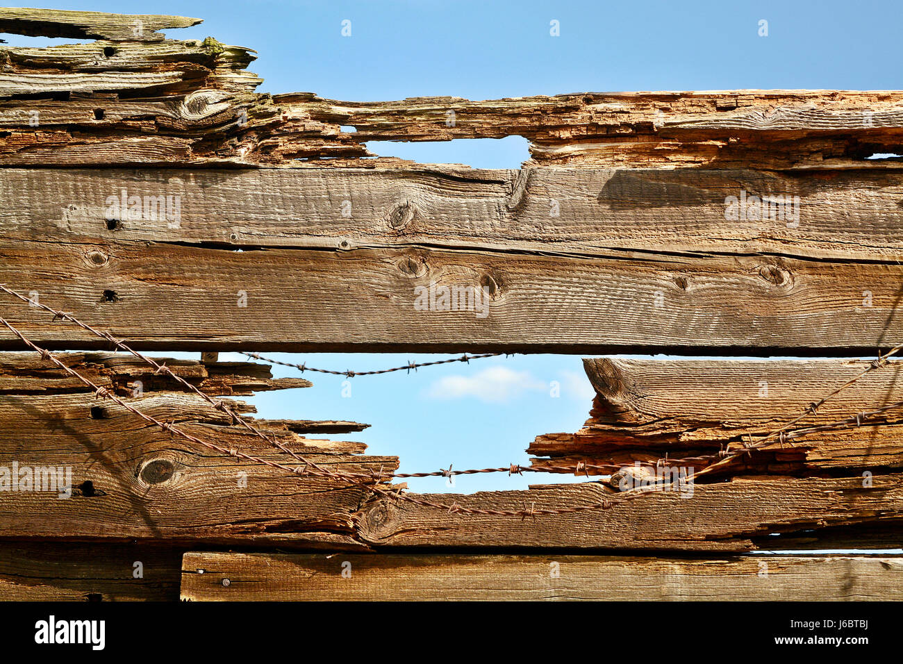 Old Weathered Wood Planks - Stock Image