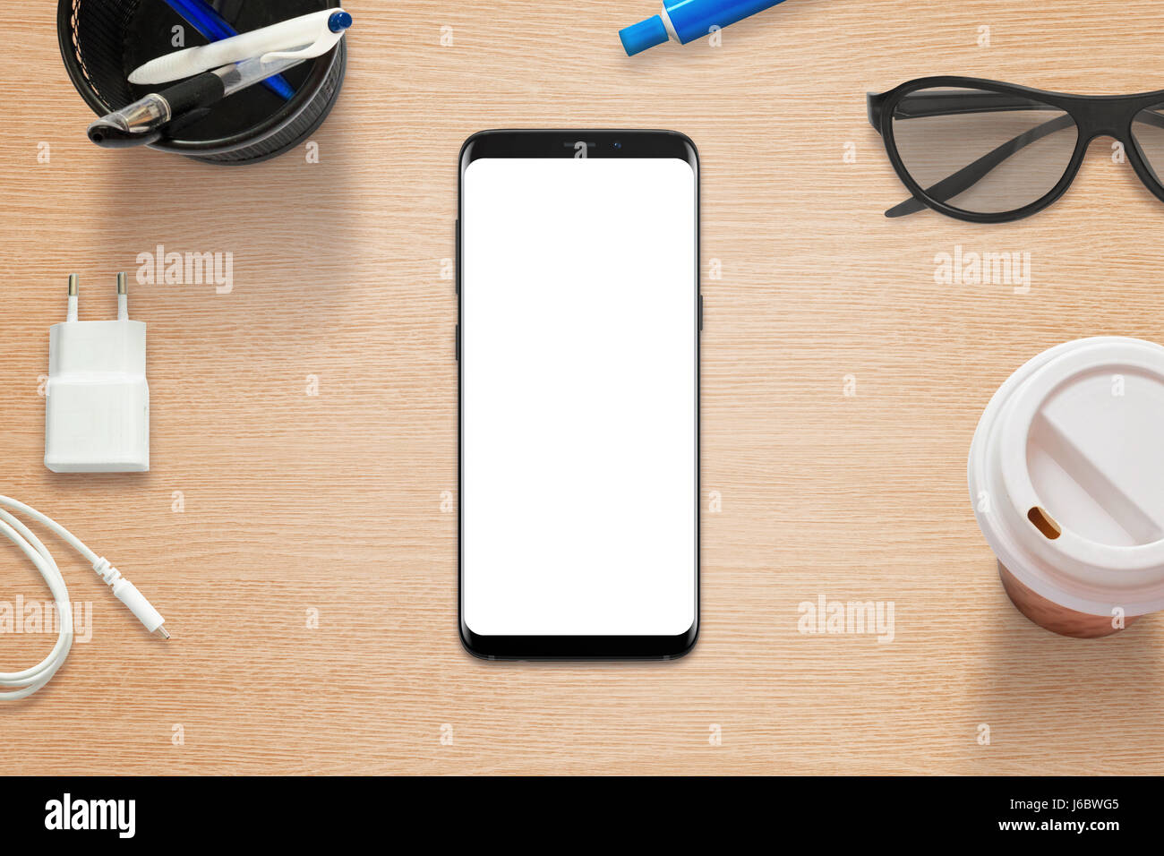 Mobile Coffee Table.Modern Mobile Phone On Table With Isolated Screen Coffee Glasses