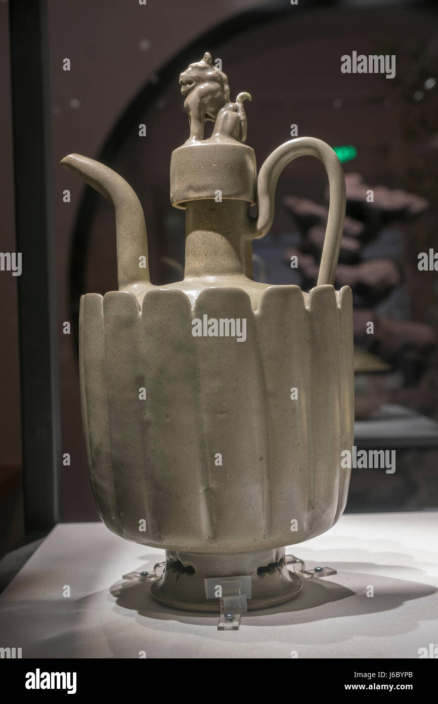 Yaozhou kiln Celadon ewer with a handle. Northern Song Dynasty (960-1127) Stock Photo