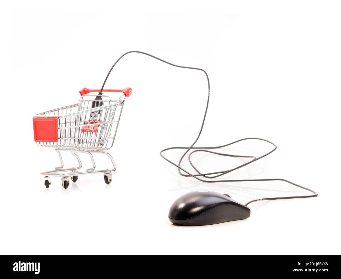 shopping buy trolley cart purchase online shop webshop web shop onlineshop - Stock Image