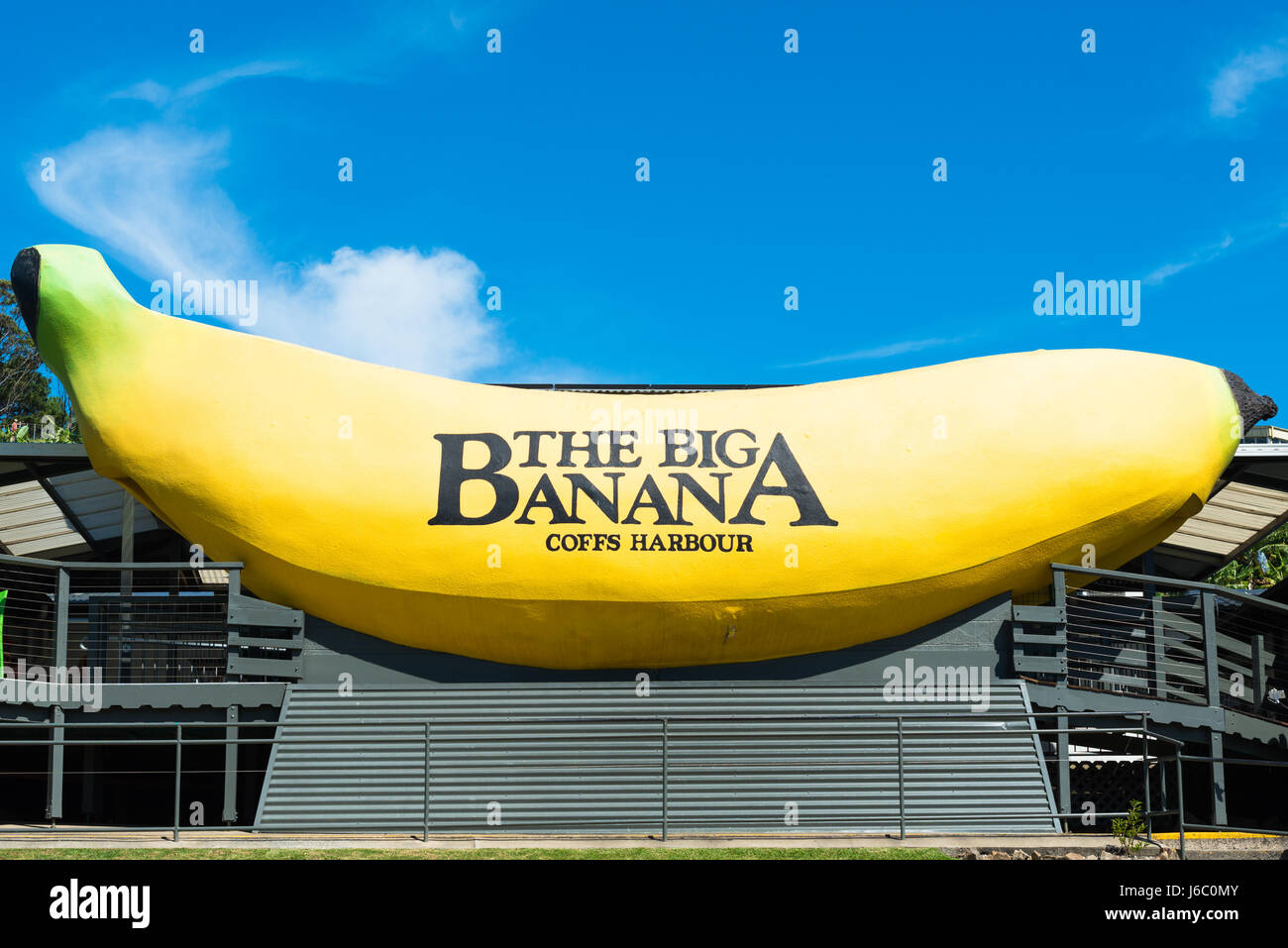 The Big Banana This giant structure located just north of Coffs Harbour on the Pacific Highway New South Wales Australia Stock Photo