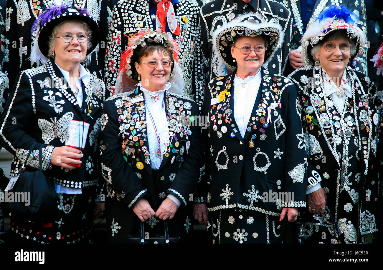 Pearly Queens, known as pearlies, are an organised charitable tradition of working class culture in London, England. - Stock Image