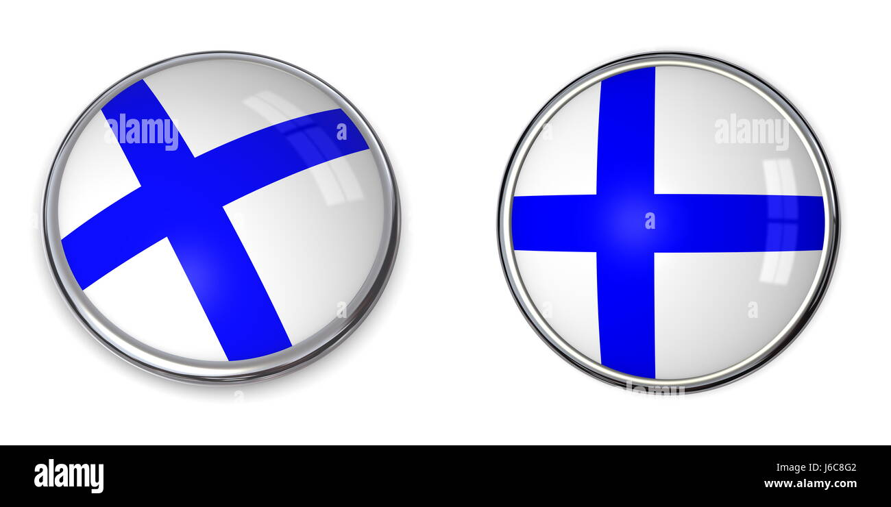 round about flag button banner finland pin sticker stickers travel isolated - Stock Image