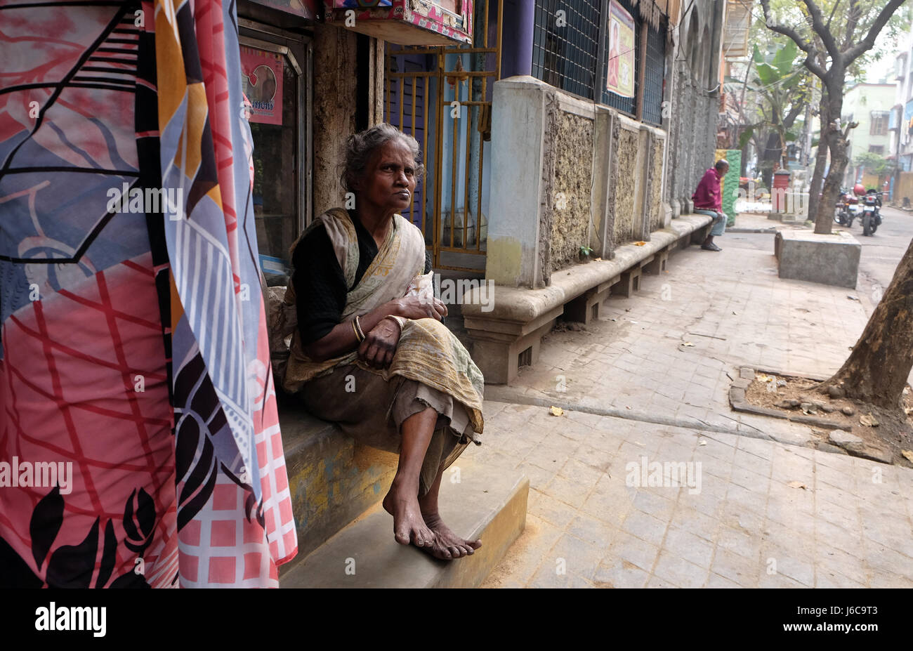 Beggars in front of Sree Sree Chanua Probhu Temple in Kolkata, West Bengal, India on February 09, 2016. - Stock Image