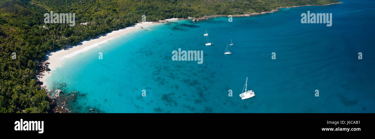 Aerial view of Praslin, Seychelles - Stock Image
