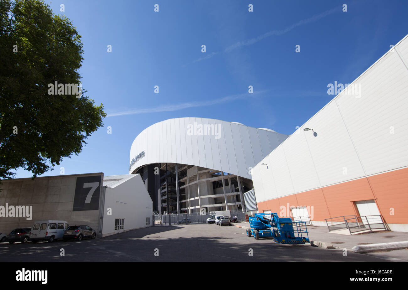 Marseille Chanot Parc des expositions : Orange Vélodrome seen from Parc Chanot - Stock Image