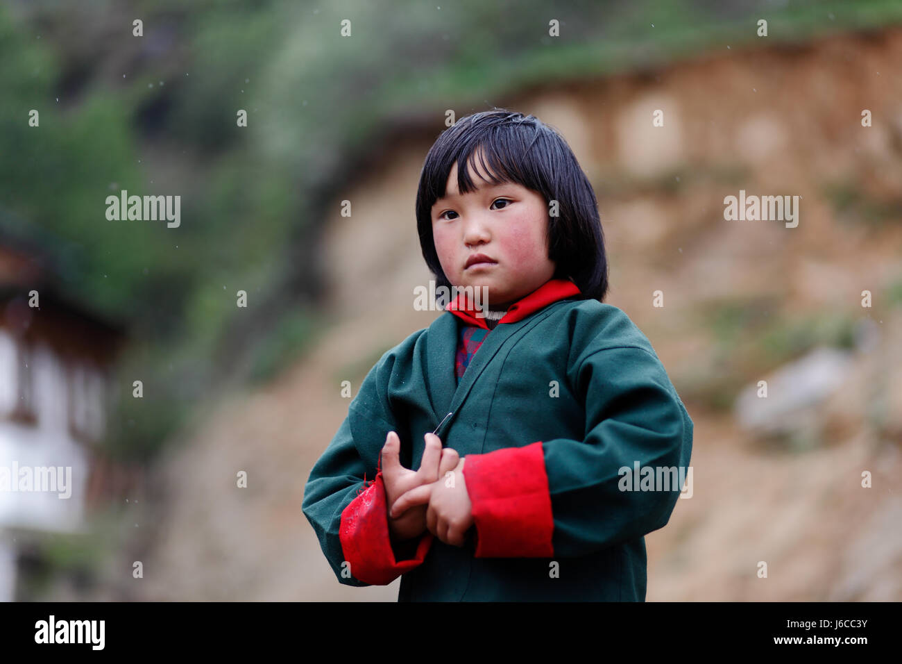 Bhutanese Girl in traditional dress - Stock Image