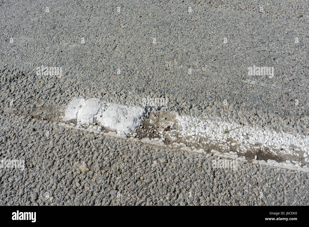 White thermoplastic road marking. Possible  metaphor concept of being at the 'end of the line'. Stock Photo