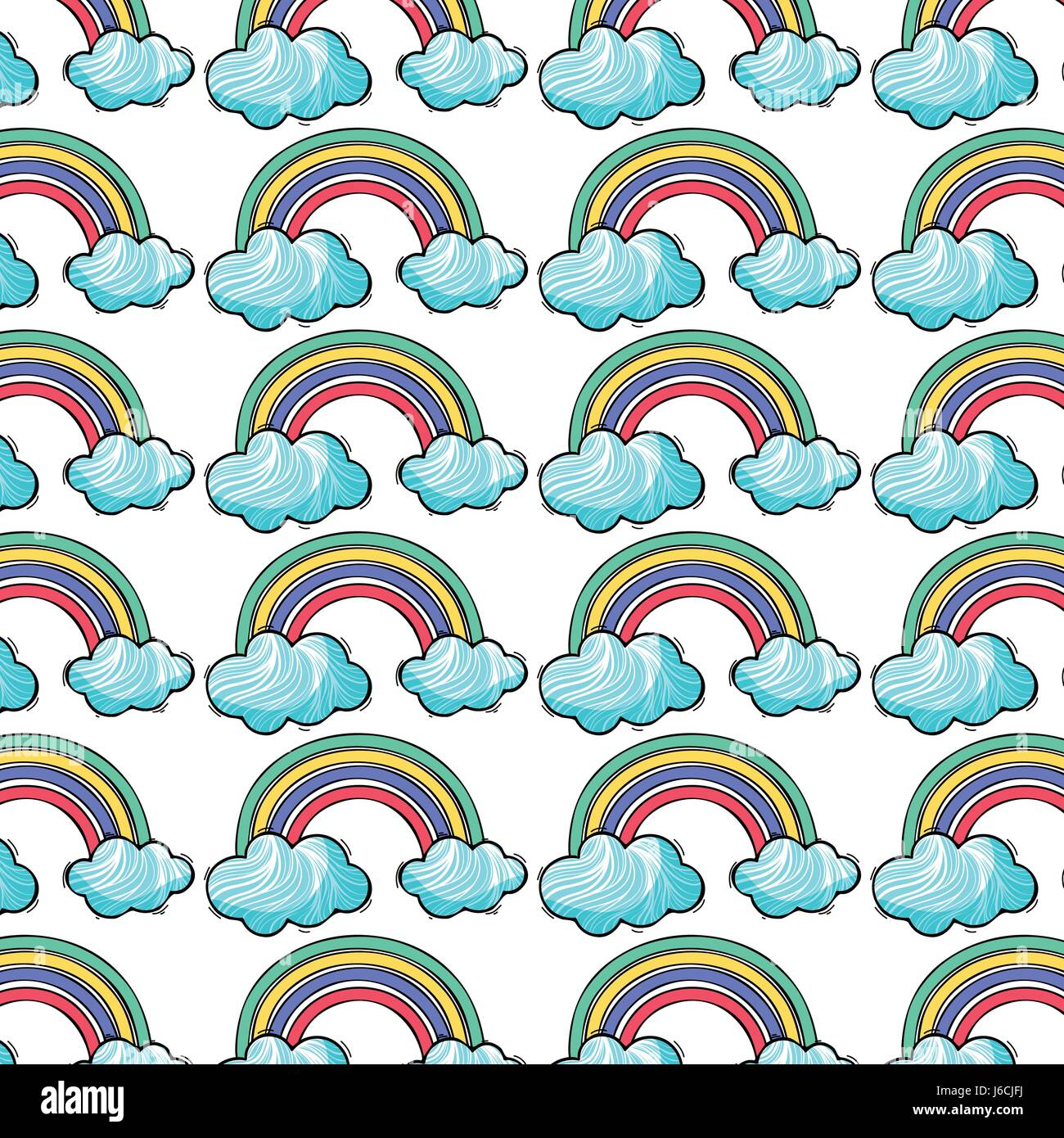 beautiful rainbow with nice clouds background Stock Vector