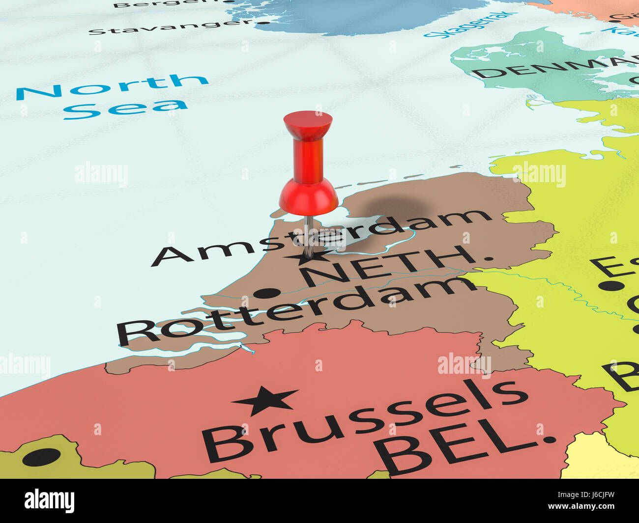 Amsterdam Pinned On Map Europe Stock Photos & Amsterdam ...