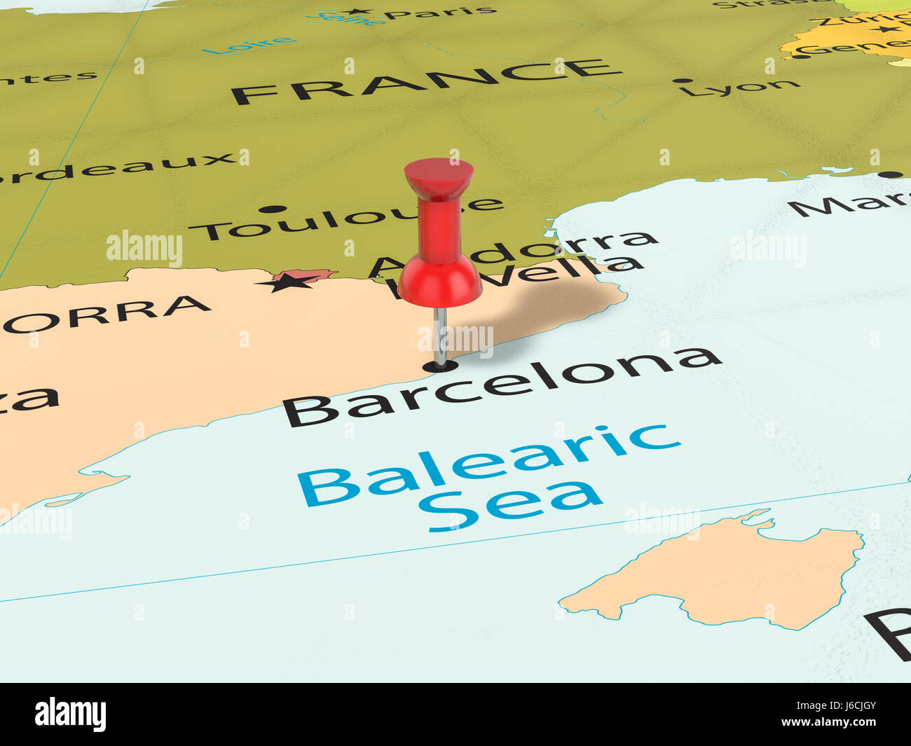 Barcelona Pinned On Map Europe Stock Photos Barcelona Pinned On