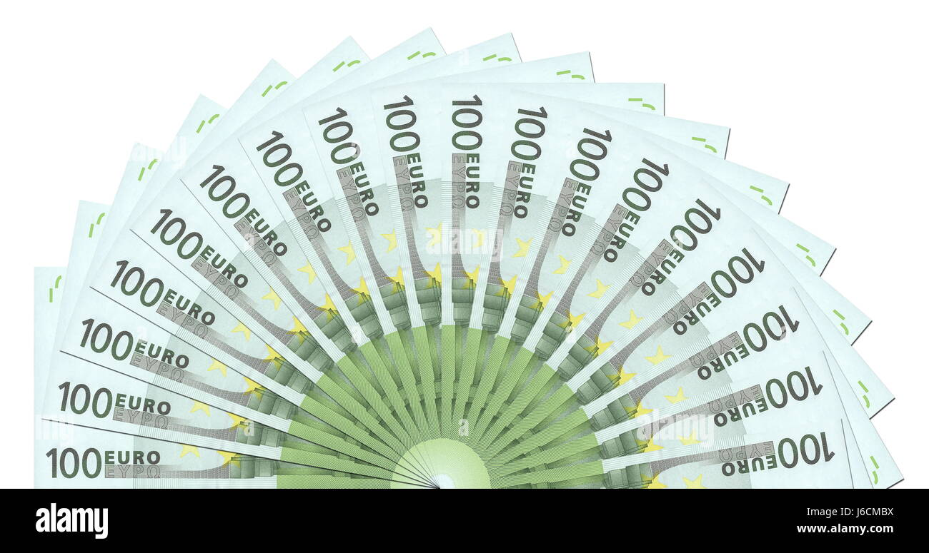 euro one circle notes fan green bank lending institution note memo pay closeup - Stock Image