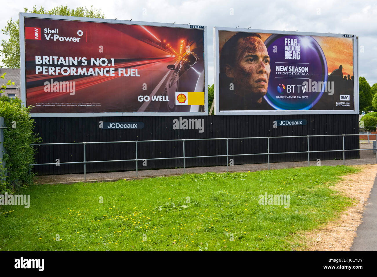 Shell & BT TV 48 sheet advertising billboards on JCDecaux site in Newport, South Wales, UK - Stock Image