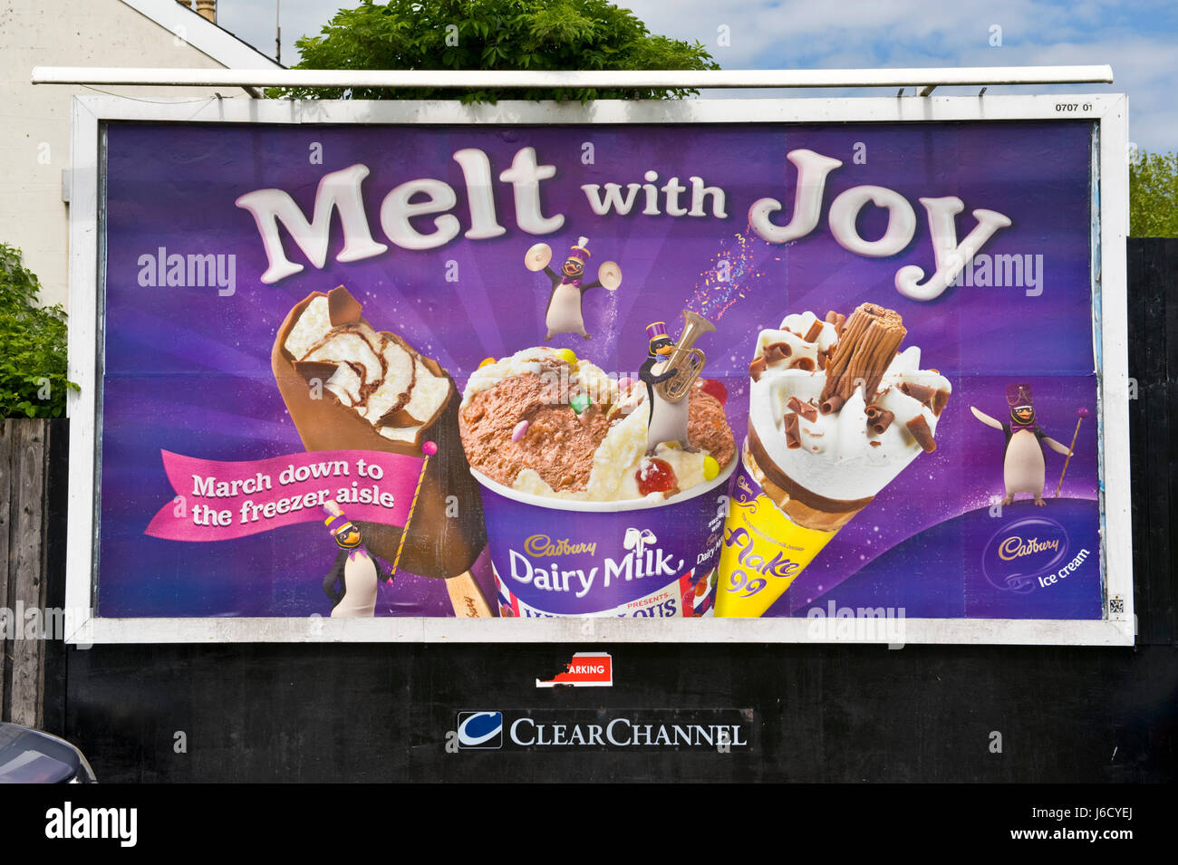 Cadbury's ice cream 48 sheet poster advertising billboard hoarding on ClearChannel site in Newport, South Wales, - Stock Image
