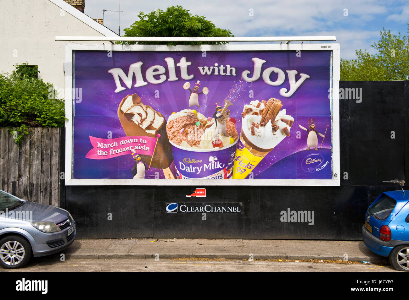 Cadbury's ice cream 48 sheet hoarding advertising billboard on ClearChannel site in Newport, South Wales, UK - Stock Image