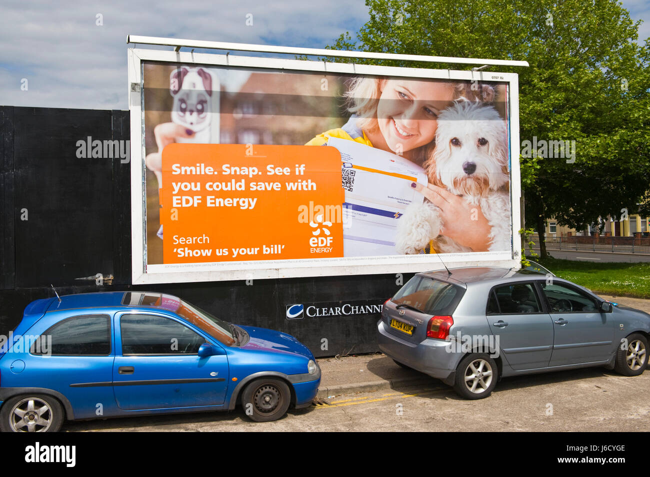 EDF Energy 48 sheet poster advertising billboard on ClearChannel site in Newport, South Wales, UK - Stock Image